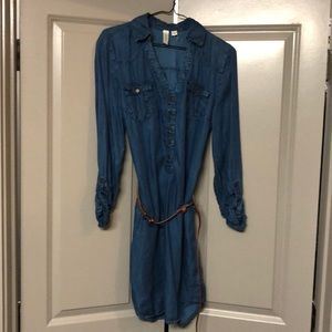 Denim dress with brown belt